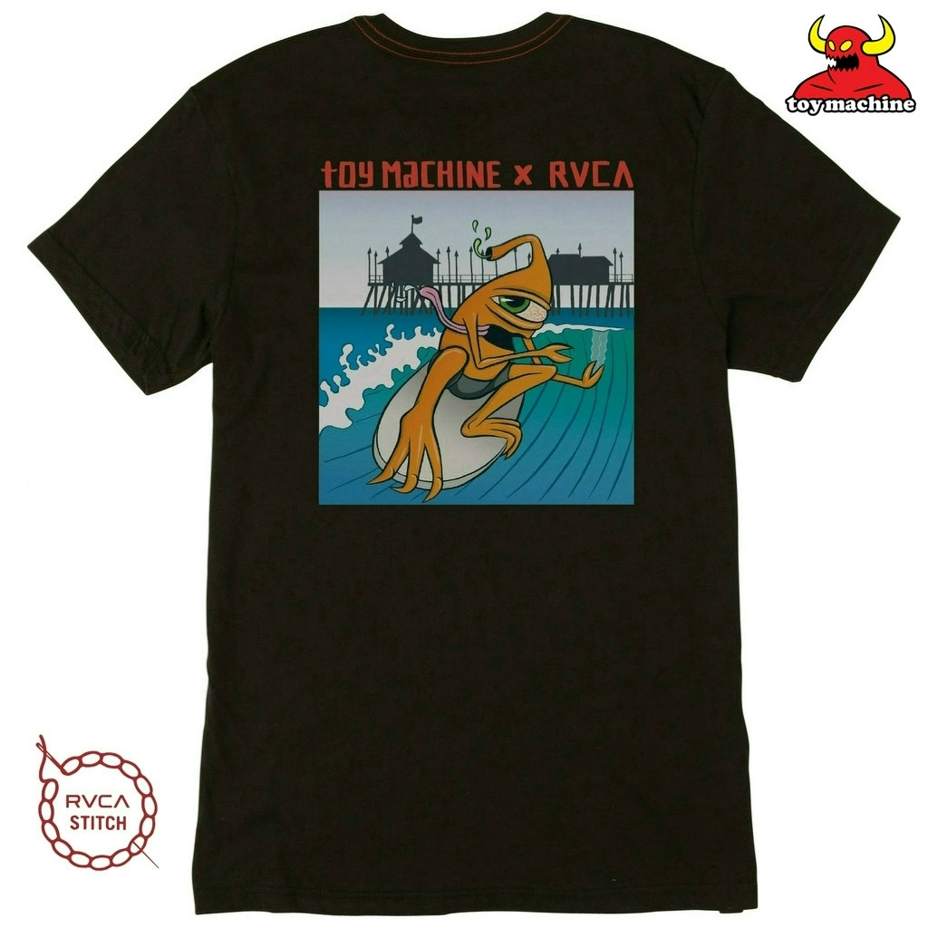 TOY MACHINE X RVCA SURFER SECT T-SHIRT - PIRATE BLACK
