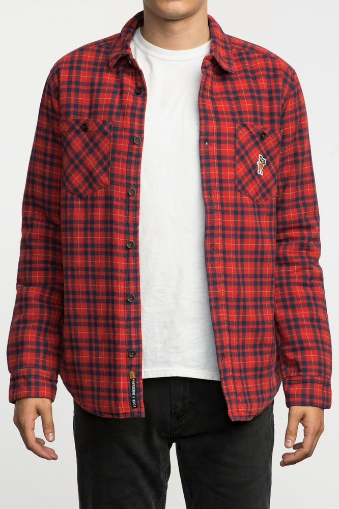TOY MACHINE X RVCA Thickness LS Shirt - RED