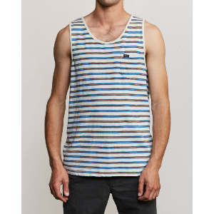 VINCENT STRIPE TANK TOP - SILVER BLEACH