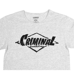 FRONT PAINTED LOGO PREMIUM TEE - HEATHER GREY/BLACK