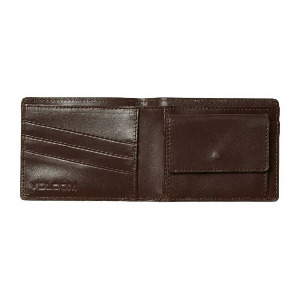 STRAIGHT LEATHER WALLET - BROWN