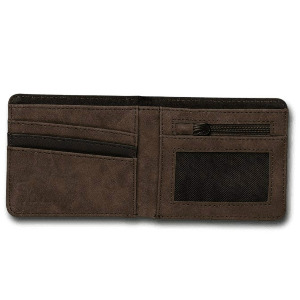 SLIM STONE PU WALLET - DARK BROWN