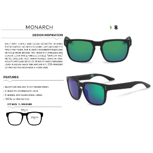 MONARCH - MATTE BLACK/LUMALENS GREEN IONIZED