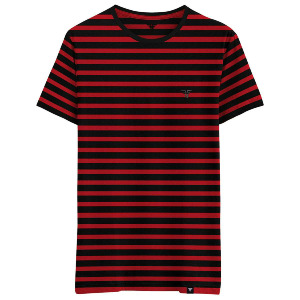 Stripes Tee - Black Red